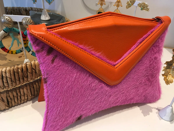 Arbition pink orange leather clutch bag
