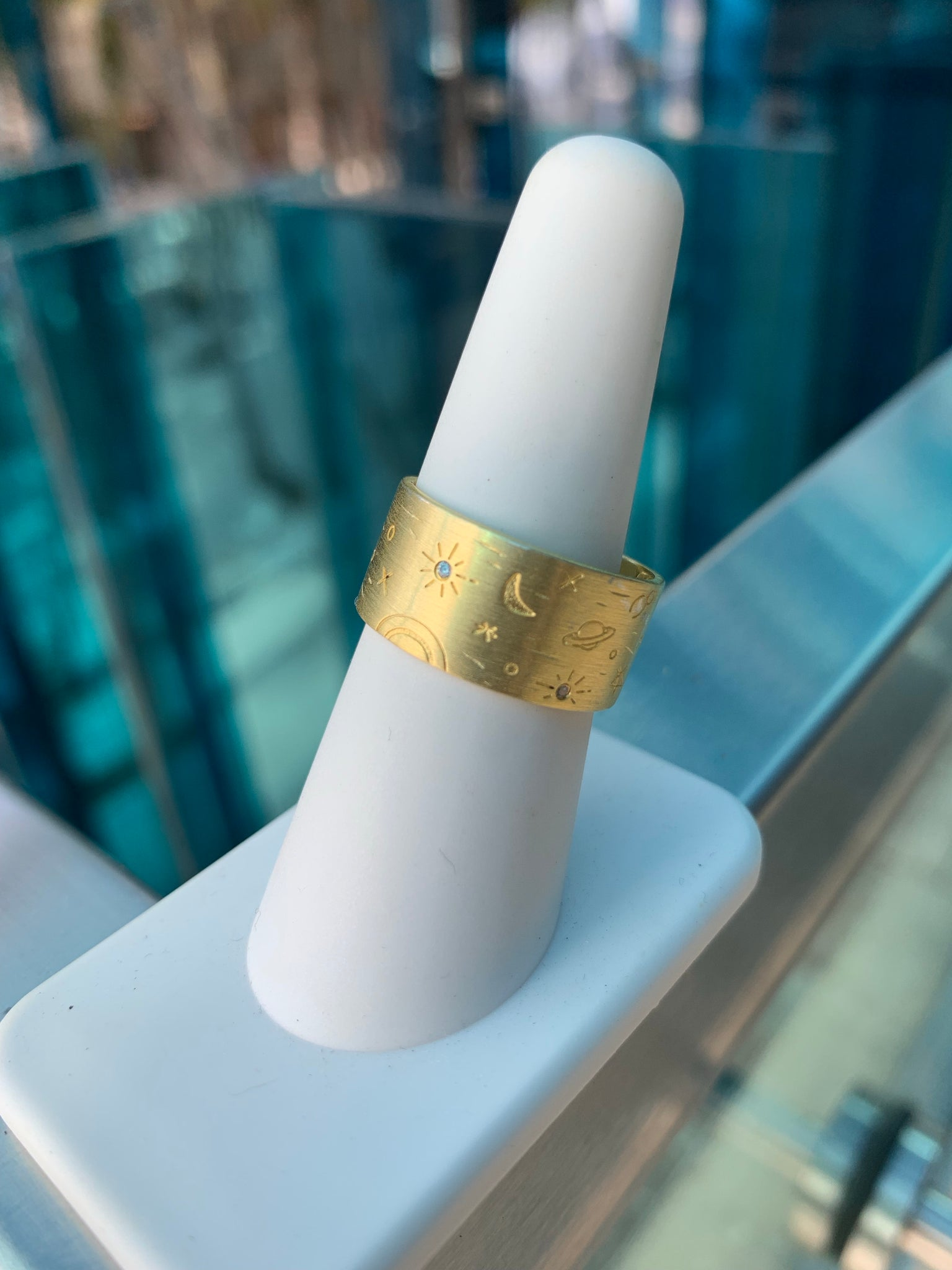 Planet stars 24k gold plated ring