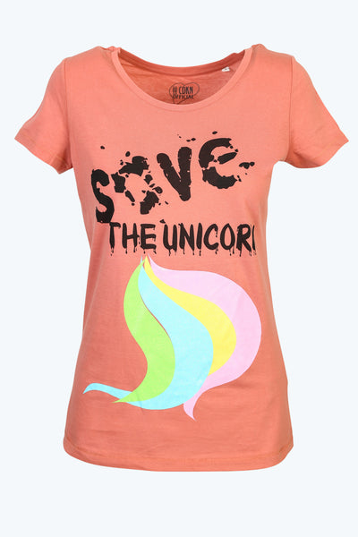 * NEW IN * Save the Unicorn - Round Neck Tee - flamingo pink
