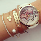 Vintage World Map Wrist Watch