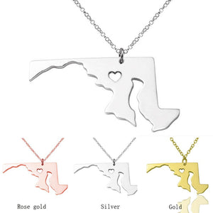 I heart Maryland State Necklace