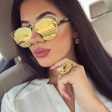 Metal Crossbar Mirrored Lens Sunglasses