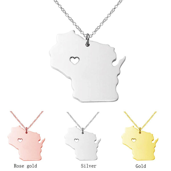 I heart Wisconsin State Necklace