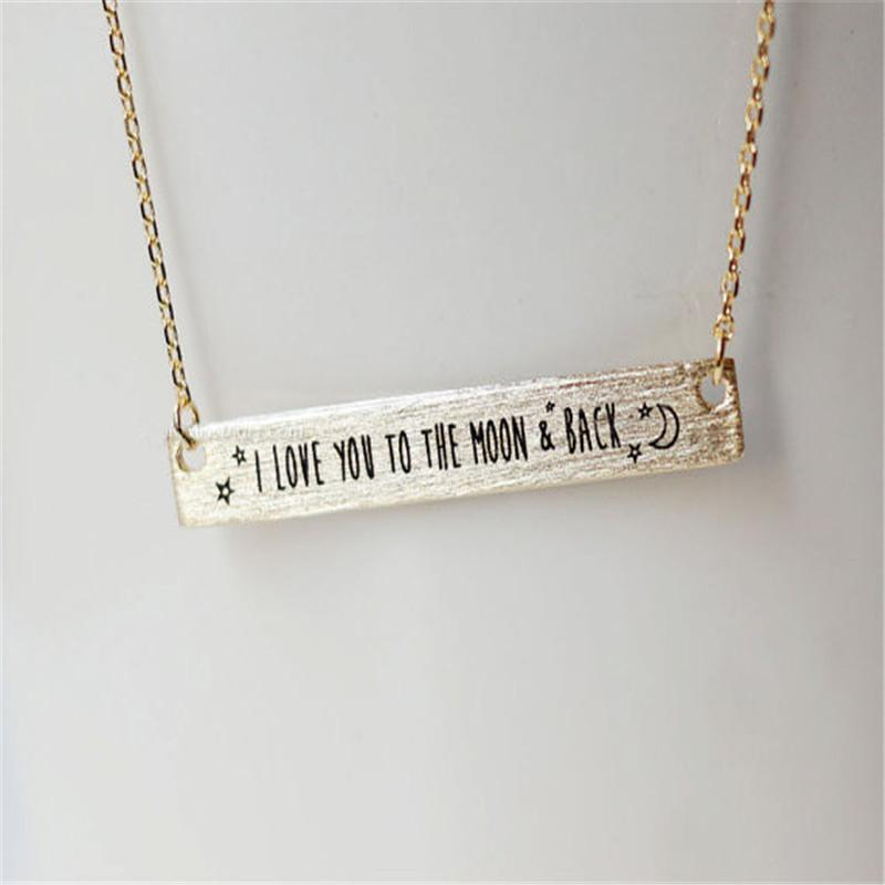 I love you to the moon and back bar necklace iwisb i love you to the moon and back bar necklace mozeypictures Images