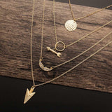 4 Layer Arrow Pendant Necklace