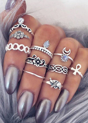Gypsy Boho 10-Piece Ring Set