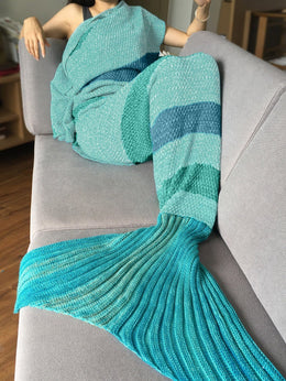 Striped Knitted Mermaid Tail Blanket (Green/Blue)