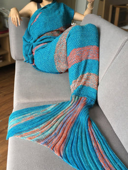 Striped Knitted Mermaid Tail Blanket (Blue/Orange)