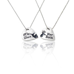 Her Buck His Doe Hand Stamped Necklace Set