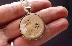 Footprint and Dog Paw Print in the Sand Forever Friends Necklace