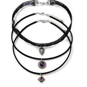 Triple Gemstone Choker Set