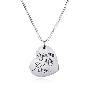Grey's Anatomy You are My Person Heart Necklace