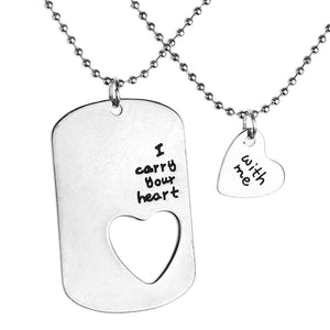 I Carry Your Heart With Me Couples Necklace Set