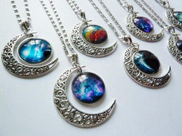 Crescent Moon Galaxy Necklace