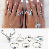 Boho Deer 7-Piece Ring Set