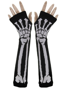 Skeleton Long Arm Warmer Fingerless Gloves
