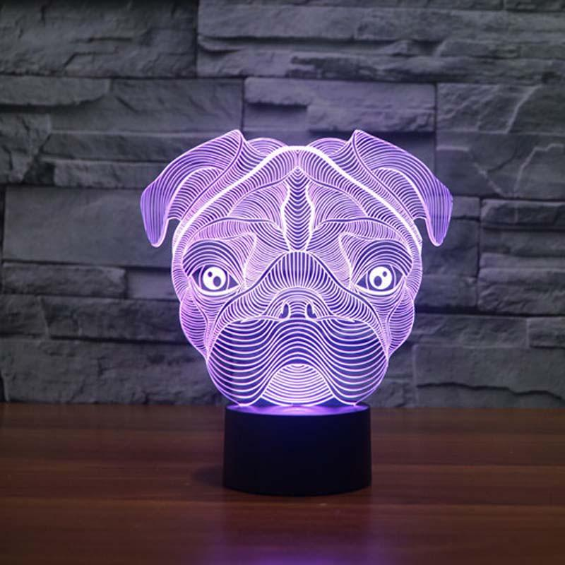 Pug Dog 3d Led Night Light Iwisb