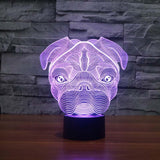 Pug Dog 3D Led Night Light