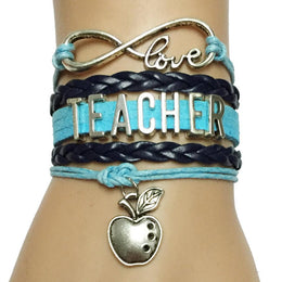 Teacher Infinity Love Apple Of Abundance Charm Bracelet