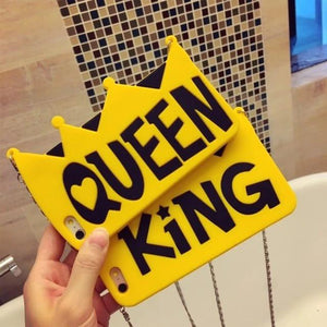 King and Queen Crown Matching Phone Cases for iPhone