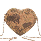 World Map Printed Heart Shaped Mini Bag