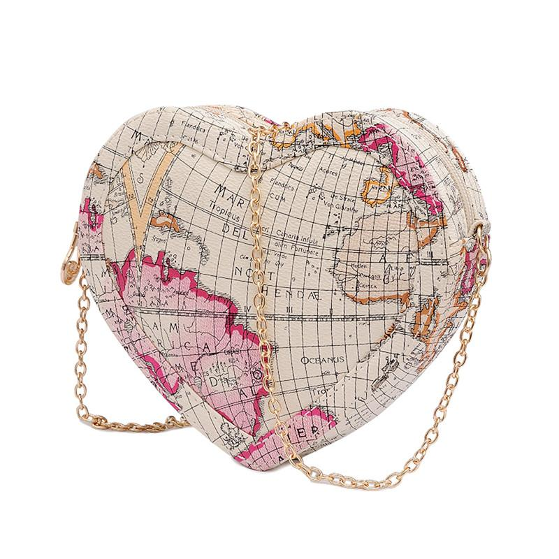 World map printed heart shaped mini bag iwisb world map printed heart shaped mini bag gumiabroncs Choice Image