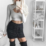 Faux Suede Lace Up Skirt