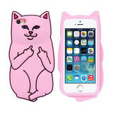 Cat Middle Finger Phone Case for iPhone