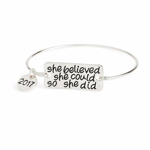 She Believed She Could So She Did Bangle Bracelet