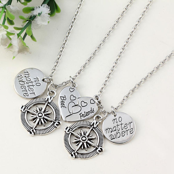 Popular Charm Bracelets 2: No Matter Where Compass Best Friend Necklace Set