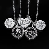 No Matter Where Compass Best Friend Necklace Set