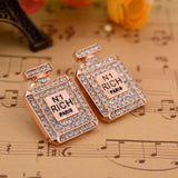 Number 1 Rich Paris Perfume Bottle Bling Earrings