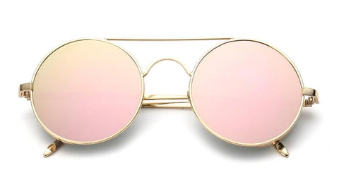 Retro Round Steampunk Mirrored Lens Sunglasses