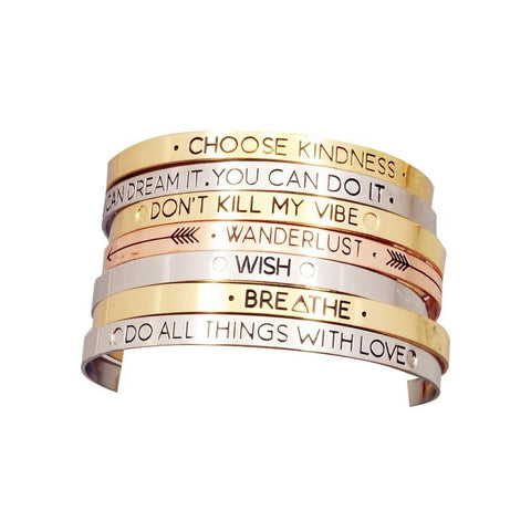 Inspirational Quote Cuff Bracelet
