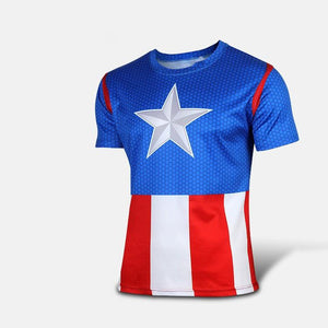 Captain America Short-Sleeved Fitness T-Shirt