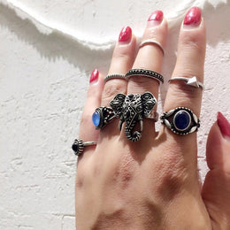 Boho Elephant 10-Piece Ring Set