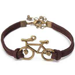 Bicycle Charm Leather Bracelet