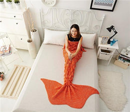 Luxurious Lightweight Mermaid Tail Blanket (Orange)