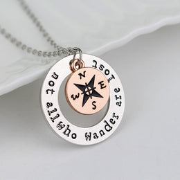 Not All Who Wander Are Lost Compass Necklace