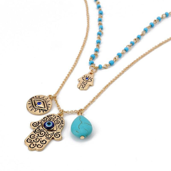 Hamsa Evil Eye Turquoise Bead Multi Layered Necklace