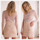 Suede Lace Up Mini Skirt