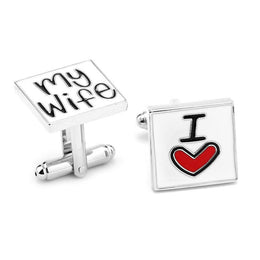 I Love My Wife Heart Cufflinks