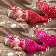 Little Mermaid Crochet Newborn Baby Girl Photo Prop