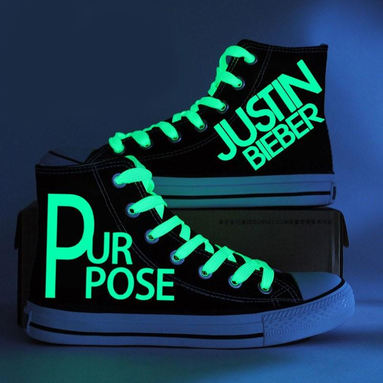 Justin Bieber Purpose Glow in Dark Canvas Shoes