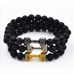 Live to Lift Dumbbell Black Matte Beaded Fitness Bracelet