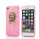 Snake Skin iPhone Case with Lion Head Ring