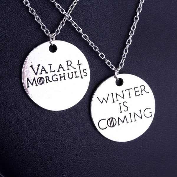 Game of Thrones Valar Morghulis Winter is Coming Couples Necklace