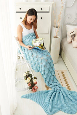 Luxurious Lightweight Mermaid Tail Blanket (Sky blue)