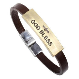 Cross God Bless Christian Bracelet