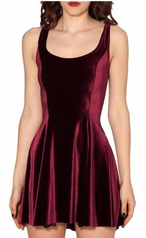 Velvet Sleevless Skater Dress